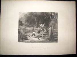After Collins C1840 LG Folio Antique Print. Happy as a King. Children